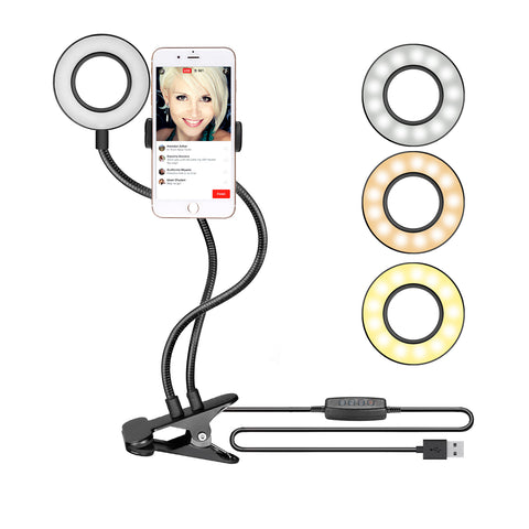 Image of Phone Holder with Selfie Ring Light Black