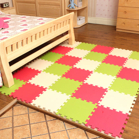 Interlocking Foam Mat GrassGreen-Red / 30x30x1cm 12pcs
