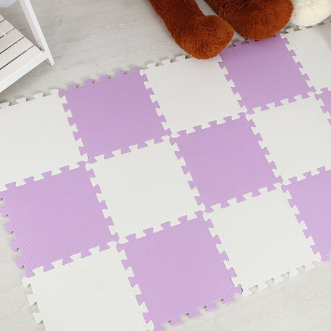Interlocking Foam Mat Purple-White / 30x30x1cm 12pcs