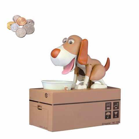 Image of Dog Coin Bank Brown and White