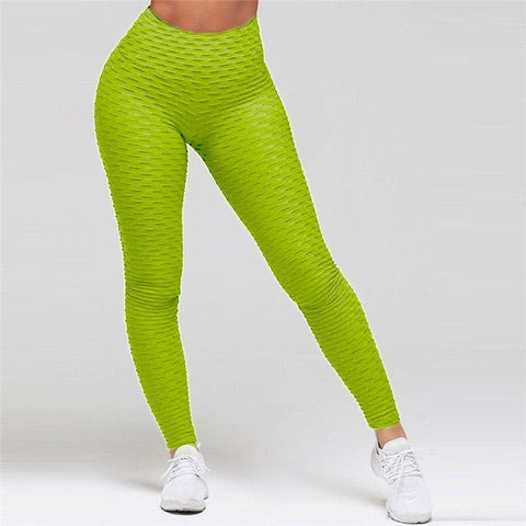 High Waist Anti Cellulite Leggings Green / S