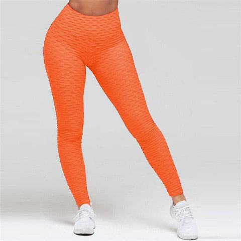 High Waist Anti Cellulite Leggings Orange / S