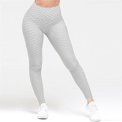 High Waist Anti Cellulite Leggings White / S
