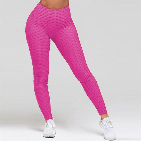 High Waist Anti Cellulite Leggings Pink / S