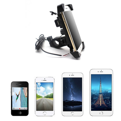 Image of Motorcycle Phone Holder Charger Handlebar mounting