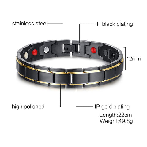 Image of Black Titanium Gold Stripes Magnetic Therapy Bracelet
