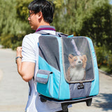 Breathable Pet Stroller Backpack Blue / 34 x 25 x 44 cm