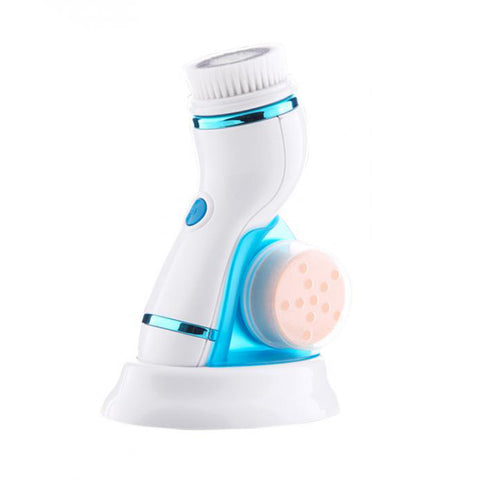 Image of Facial Cleansing Brush With Changeable Heads & Stand blue