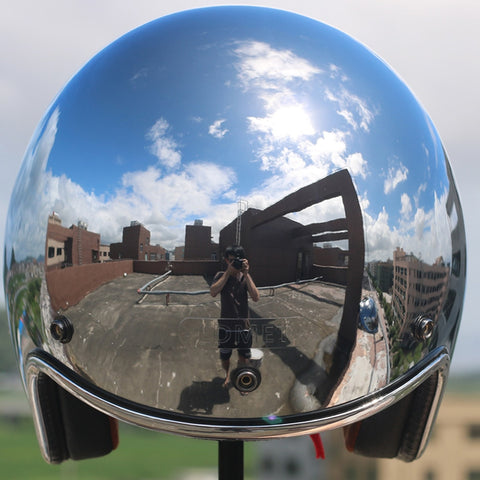 Image of Chrome Motorcycle Helmet