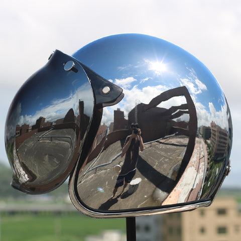 Chrome Motorcycle Helmet