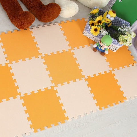 Interlocking Foam Mat Orange-Beige / 30x30x1cm 12pcs