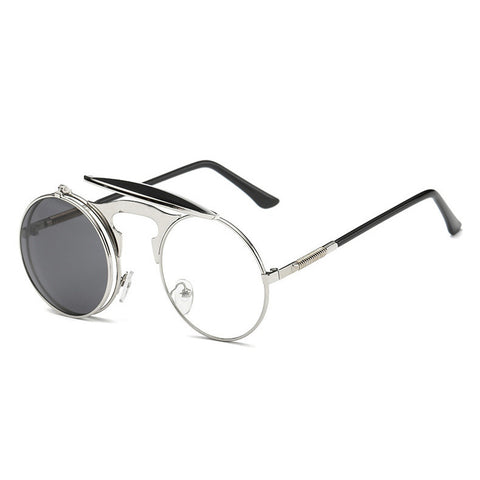 Image of Flip Up Steampunk Sunglasses Silver