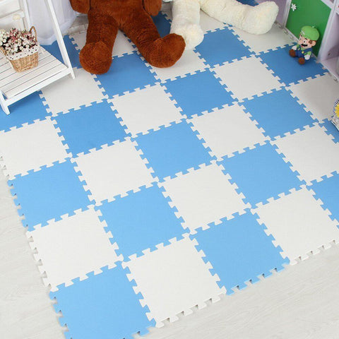 Interlocking Foam Mat SkyBlue-White / 30x30x1cm 12pcs