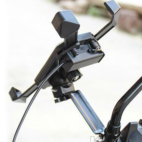 Image of Motorcycle Phone Holder Charger Mirror mounting