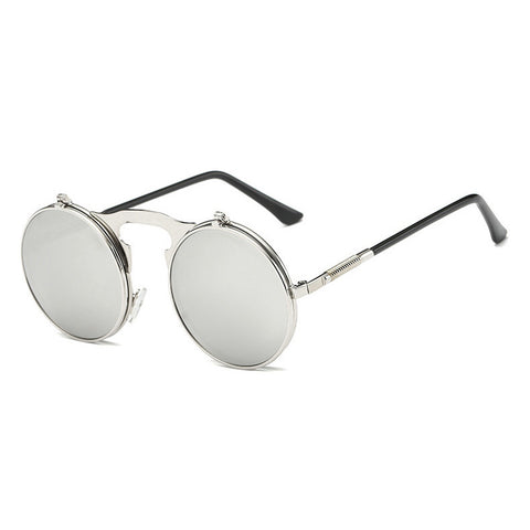 Image of Flip Up Steampunk Sunglasses White