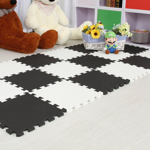 Interlocking Foam Mat Black-White / 30x30x1cm 12pcs