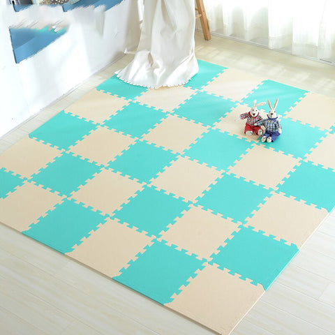 Interlocking Foam Mat Beige-GreenBlue / 30x30x1cm 12pcs