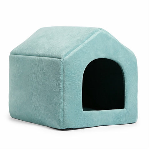 Image of Luxury Dog House Cozy Dog Bed Kennel CadetBlue / L