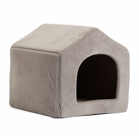Image of Luxury Dog House Cozy Dog Bed Kennel Gray / L