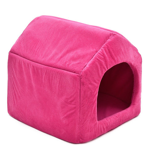 Luxury Dog House Cozy Dog Bed Kennel Pink / L