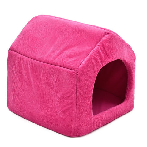 Image of Luxury Dog House Cozy Dog Bed Kennel Pink / L
