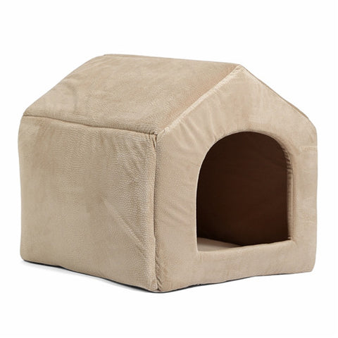 Image of Luxury Dog House Cozy Dog Bed Kennel Beige / L
