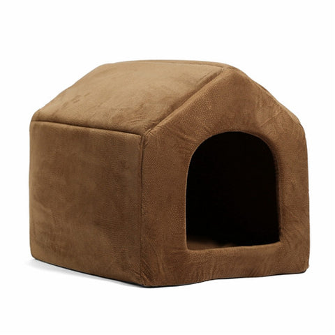 Image of Luxury Dog House Cozy Dog Bed Kennel Brown / L