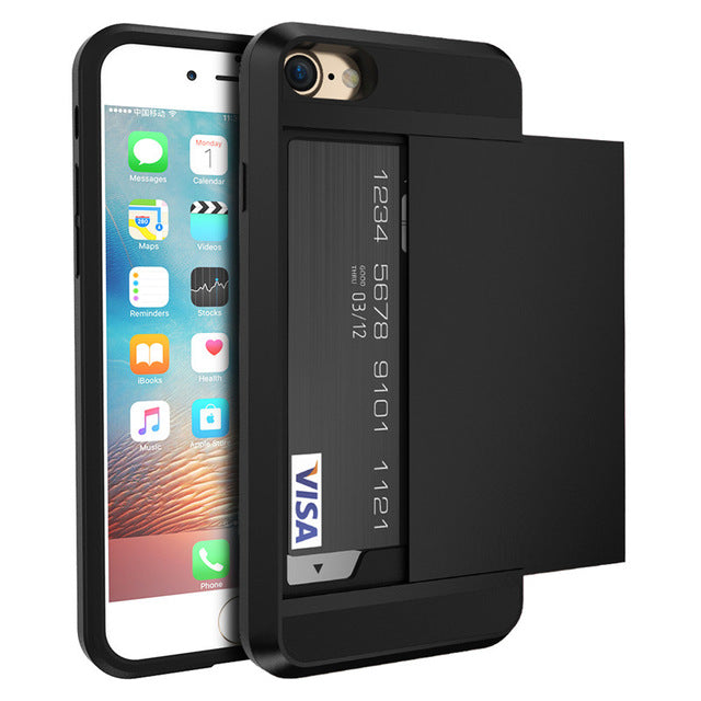 iPhone Case With Card Holder Black / For iPhone X