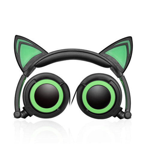 Image of Flashing Cat Ear Headphones Green