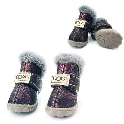 Dog Shoes for Winter Purple / S