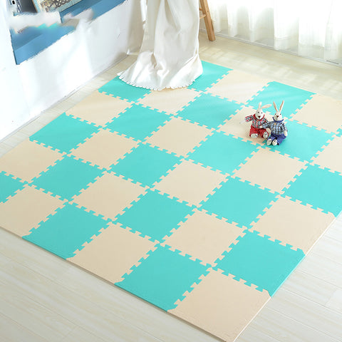 Interlocking Foam Mat Beige-GreenBlue / 30x30x1cm 18pcs
