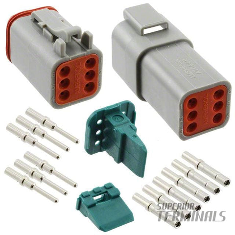 AT SERIES PLUG & SOCKET KIT - 6 WAY - Amphenol