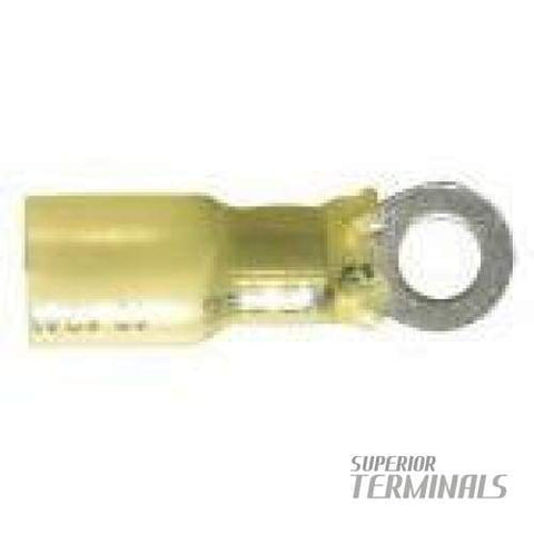 Krimpa-Seal LONG Ring Terminal - 4-6mm (12-10 AWG) M4 Stud (#8) (Yellow)