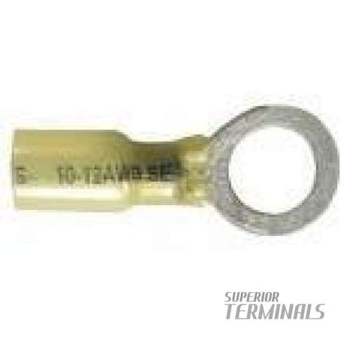 Krimpa-Seal Ring - 12-10 AWG Ring 3/8 Stud (Yellow) - Krimpa-Seal