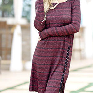 Casual Loose  Stripe Long Sleeve   Dresses