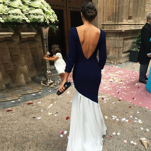 Sexy Elegant Backless Long Sleeve Bodycon Evening Dress