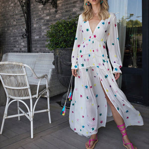 Deep V-Neck Long Sleeve Maxi Dress