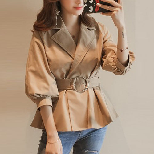 Lapel Belt Plain Batwing Sleeve Trench Coat