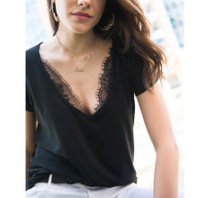 V Neck  Lace Plain T-Shirts