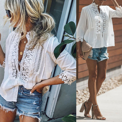 High Neck  Single Breasted  Patchwork Plain  Blouses