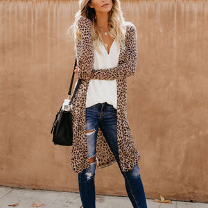 Collarless  Leopard Print Cardigans