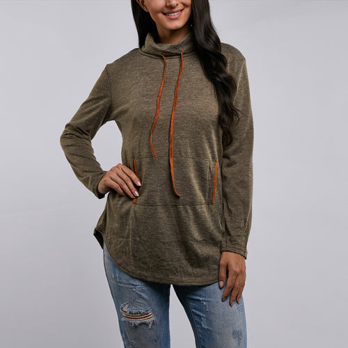 Solid Color Long Sleeve High Collar T-Shirts