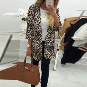 Fold Over Collar  Leopard Printed Blazers