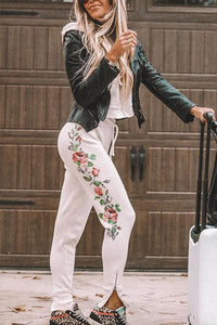 Casual Drawstring Waist Floral Zipper Hem Pants