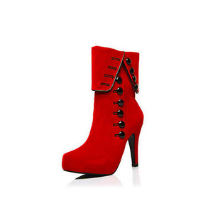 Ankle Side Zipper High Heeled Stiletto Suede Boots
