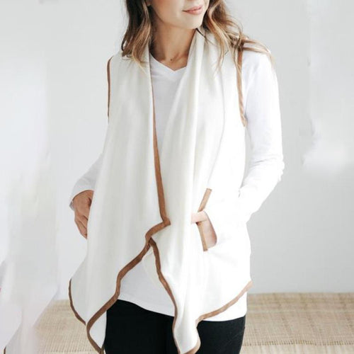 Stylish Casual Loose Color Block Sleeveless Irregular Hem Waistcoat Cardigan