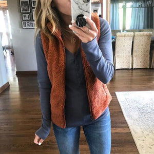Faux Fur Collar  Zipper  Plain Vests