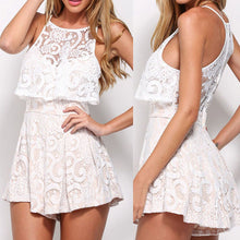 Casual Pants Short Sleeveless Frilled Lace Bodysuit