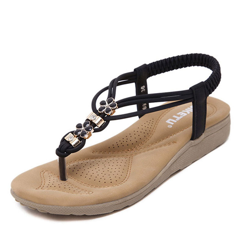Bohemian  Flat  Faux Leather  Peep Toe  Beach Sandals