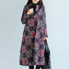 Collarless Patch Pocket Single Button Tribal Printed Long Coat